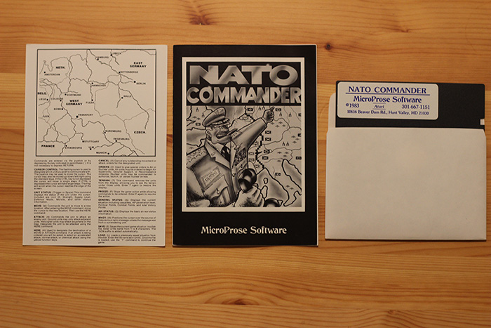"""Map, Instructions and Floppy Diskette from """"NATO Commander""""."""