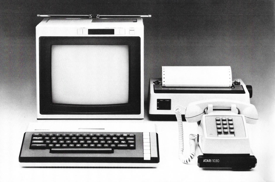 Photo from the 1030 user manual - showing the Atari 1030, an 800XL computer, and a 1025 printer.
