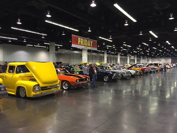 Cars waiting to be auctioned at Mecum Anaheim 2014.