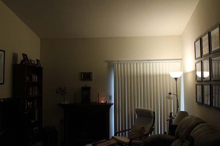 Lifx running a soft-white color, at full power (75 watt equivalent). All the other lights in the apartment are off.