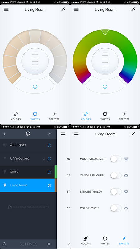 Screenshots from the Lifx iOS app, showing the various controls for shading, dimming, etc.