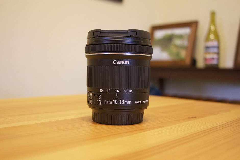 The Canon 10-18mm f/4.5-5.6 IS STM lens.