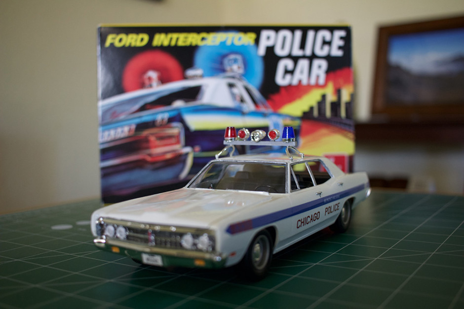 "AMT's completed ""Ford Intercepter Police Car"" kit."