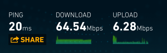 Cox Preferred Tier via wireless-AC connection - speedtest.net
