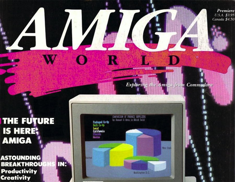 """The cover of the first edition of """"Amiga World"""" magazine, circa fall 1985."""
